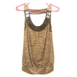BCX Tan/Black Embellished Business Casual Top